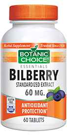 Bilberry Extract Standardized for 10&37; Anthocyanosides 60 mg 60 tablets