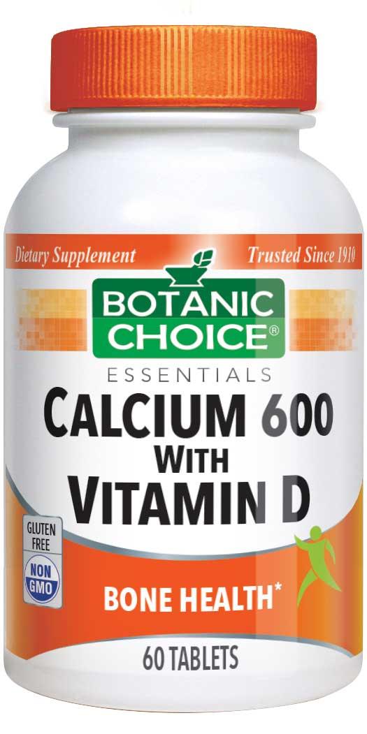 Botanic Choice Calcium 600 with Vitamin D - Bone Health Supplement - 60 Tablets