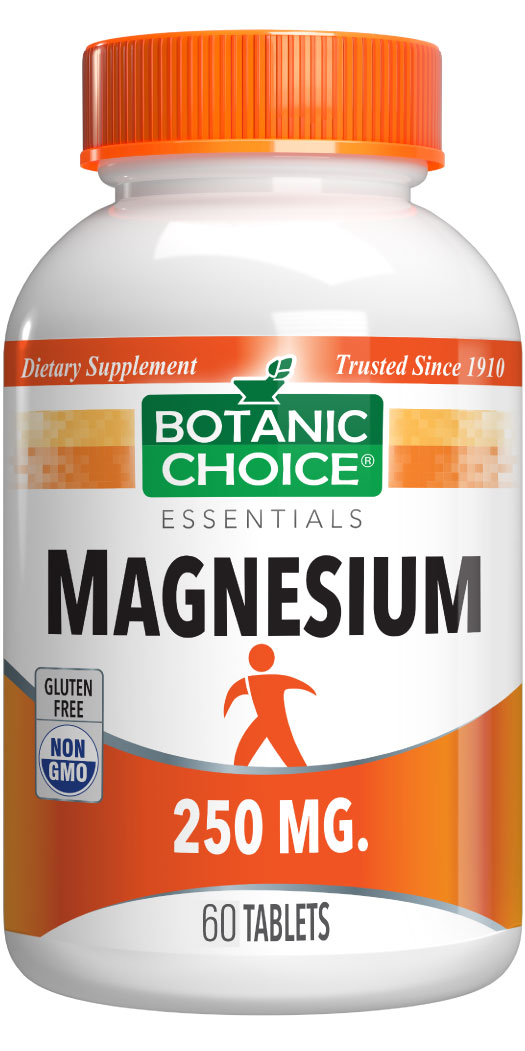 Botanic Choice Magnesium 250 mg - Muscles And Bones Support Supplement - 60 Tablets