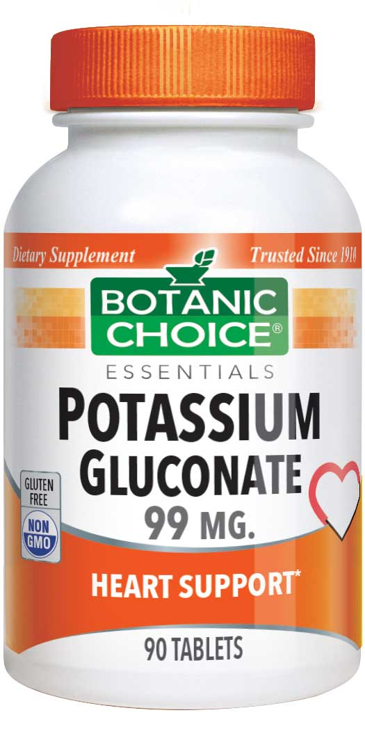 Botanic Choice Potassium 99 mg - Muscles And Bones Support Supplement - 90 Tablets