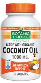 """Coconut Oil, Organic 1000 mg 30 softgels""nohtin"