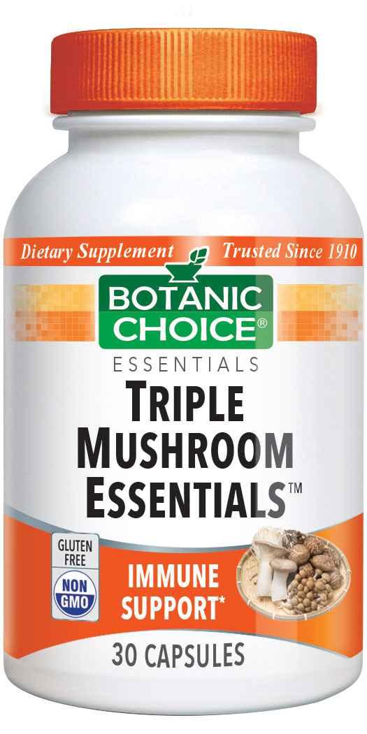 Botanic Choice Triple Mushroom Essentials - Immune Support Supplement - 30 Capsules