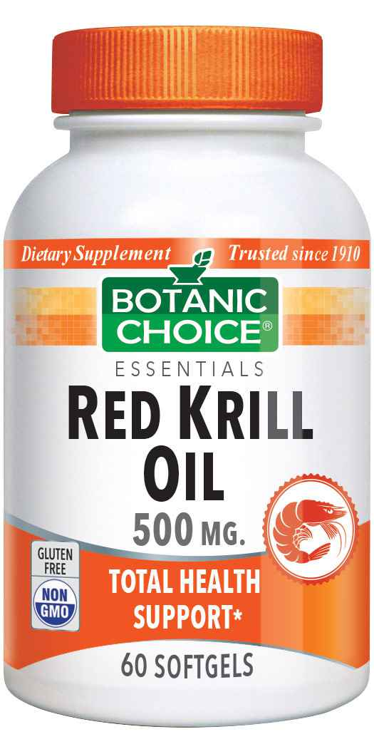 Botanic Choice Red Krill Oil 500 mg - Essential Fatty Acids Support Supplement - 60 Softgels