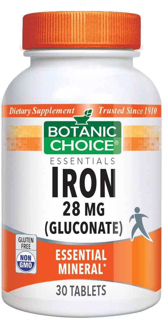 Botanic Choice Iron 28 mg gluconate - Total Health Support Supplement - 30 Tablets