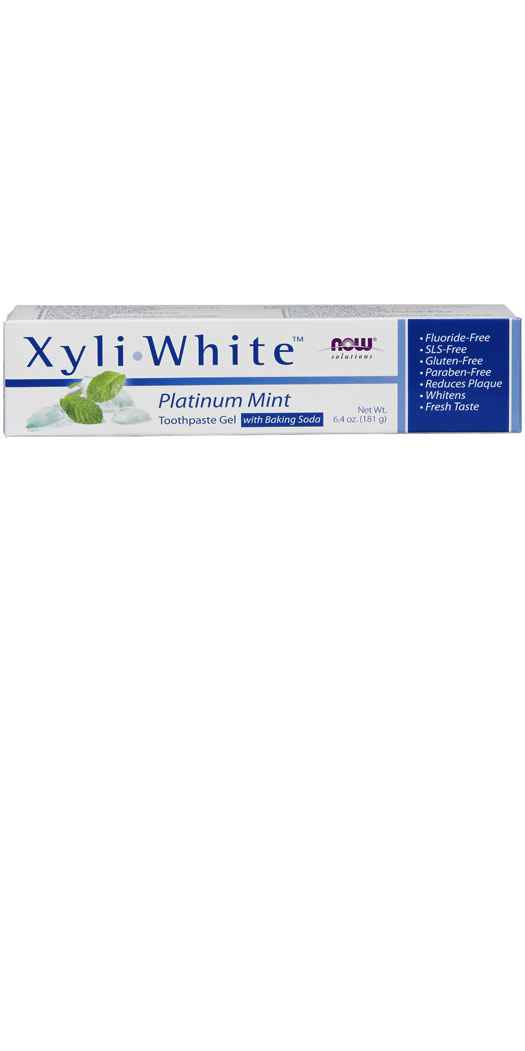 NOW Foods XyliWhite™ Platinum Mint Toothpaste Gel with Baking Soda - 6.4 Oz