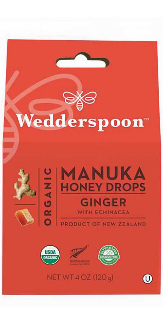 Wedderspoon Organic Manuka Honey DropsGinger - 20 Drops