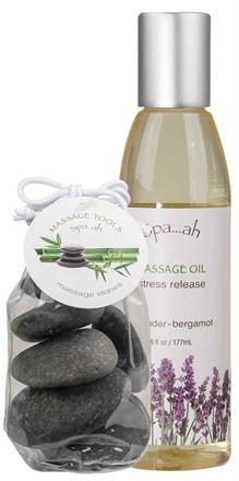 Stress Release Massage Oil & Stones