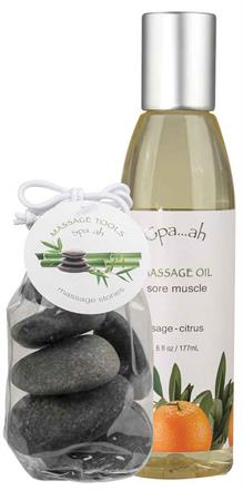 Sore Muscle Massage Oil & Stones