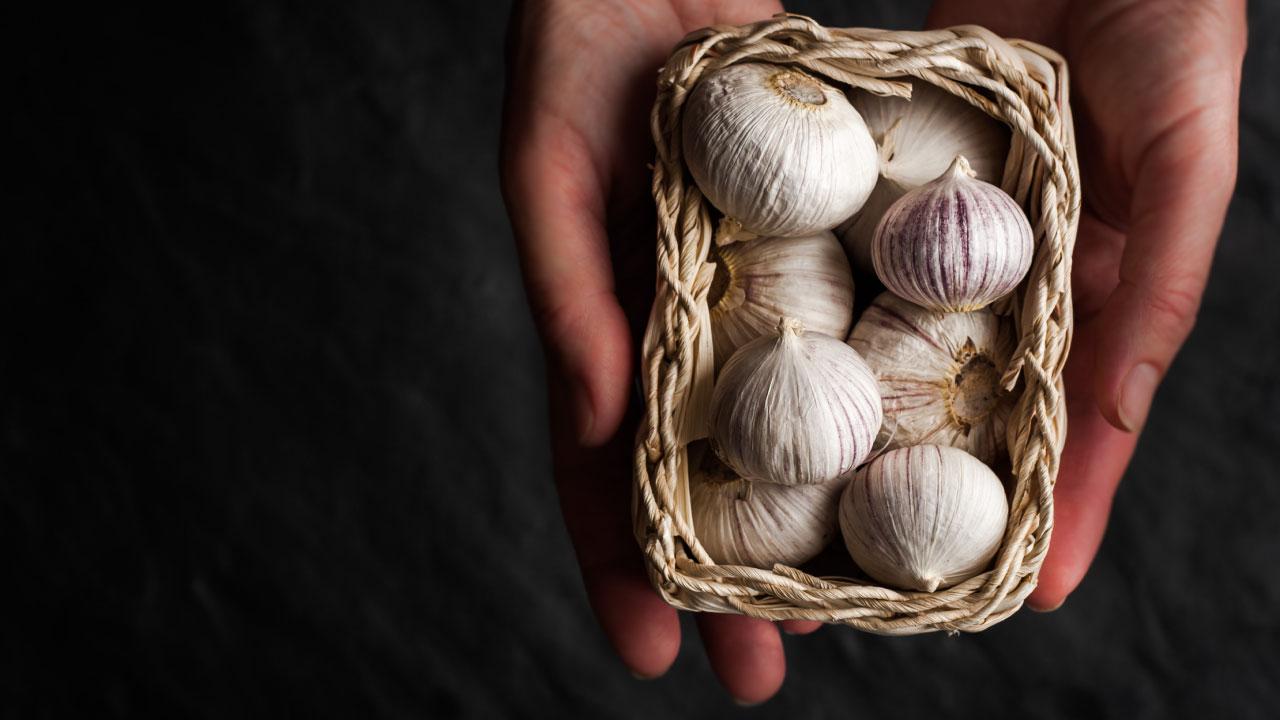 man holding garlic