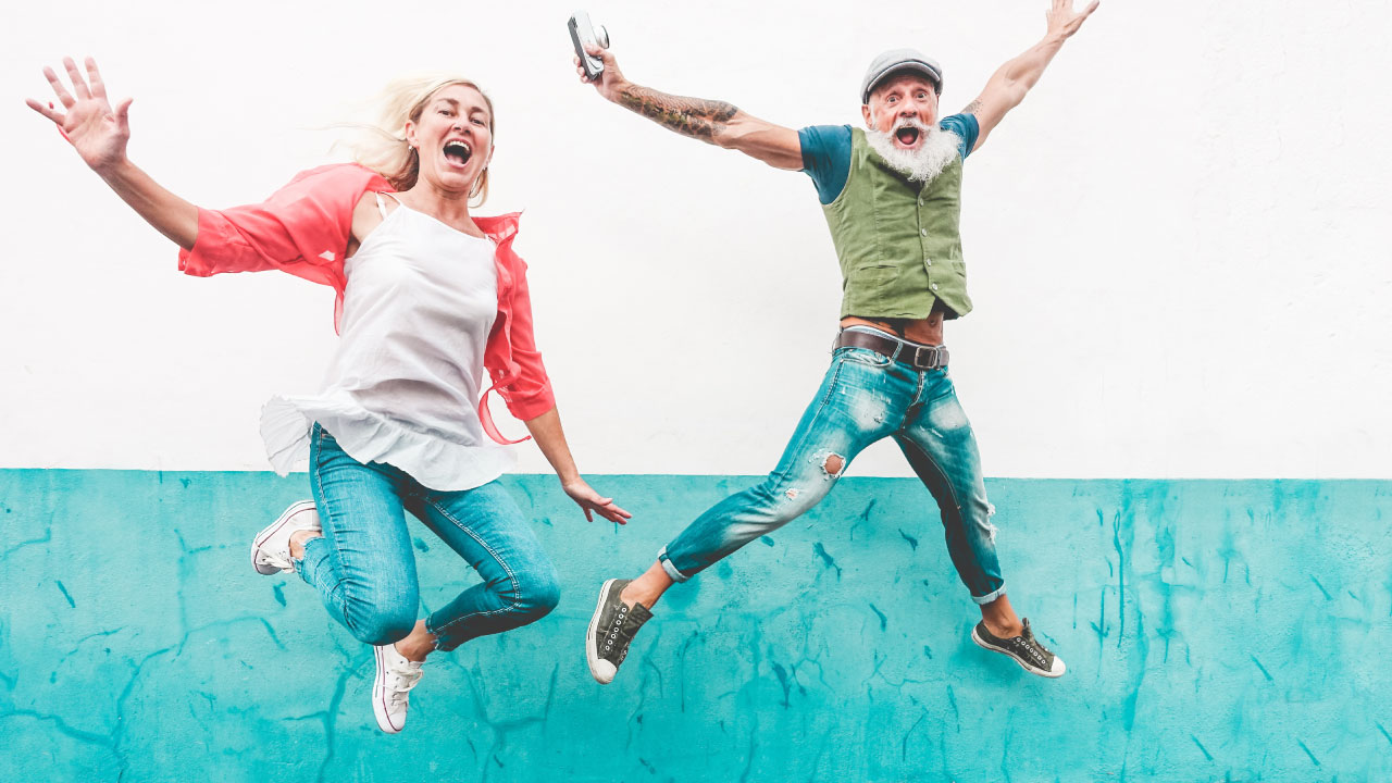 2 old people jumping for joy over ginkgo biloba