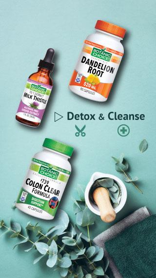 milk thistle, dandelion root, colon clear, detox and cleanse