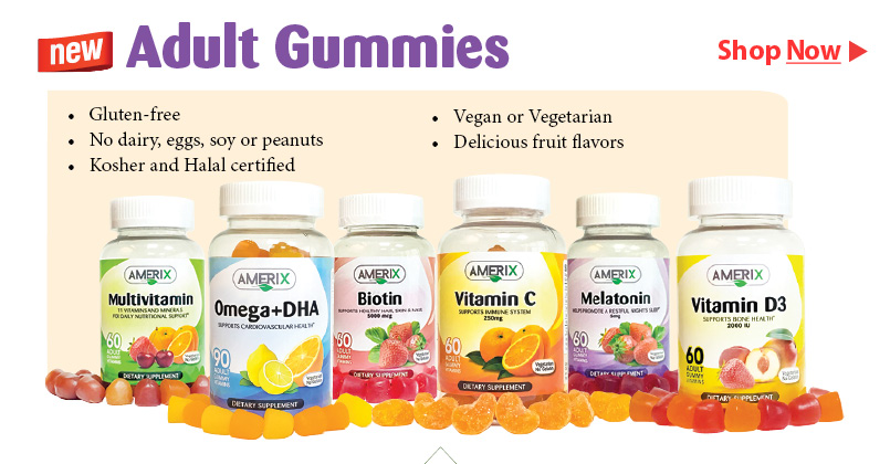 Adult Gummies by Amerix - Gluten free, no dairy, eggs, soy or peanuts