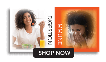 Woman eating and sneezing. Digestion and immune shop now.