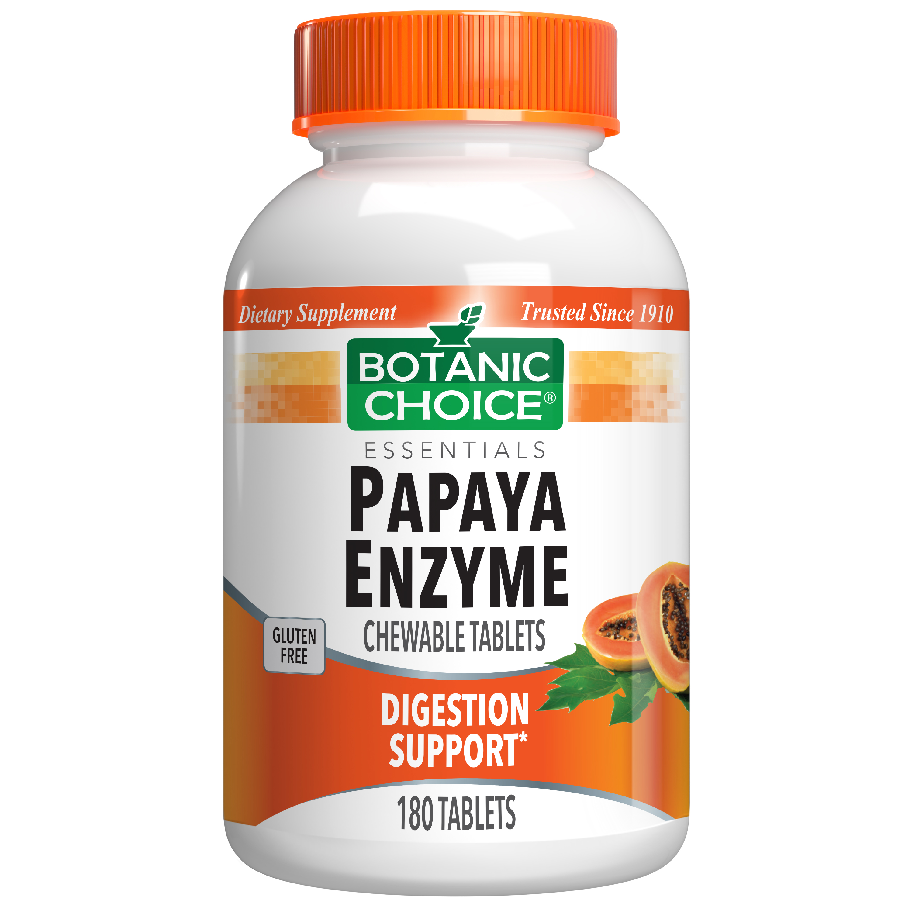 Botanic Choice Chewable Papaya Enzyme Tablets 49 mg - Digestive Support Supplement - 180 Tablets