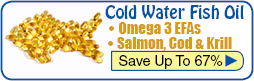 Omega 3 Fish Oil from cold water fish including Salmon, Krill, Cod