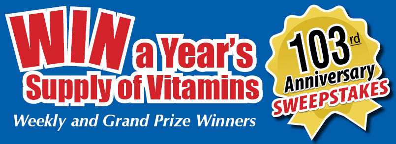Enter to Win Free Vitamins in Our Anniversary Sweepstakes