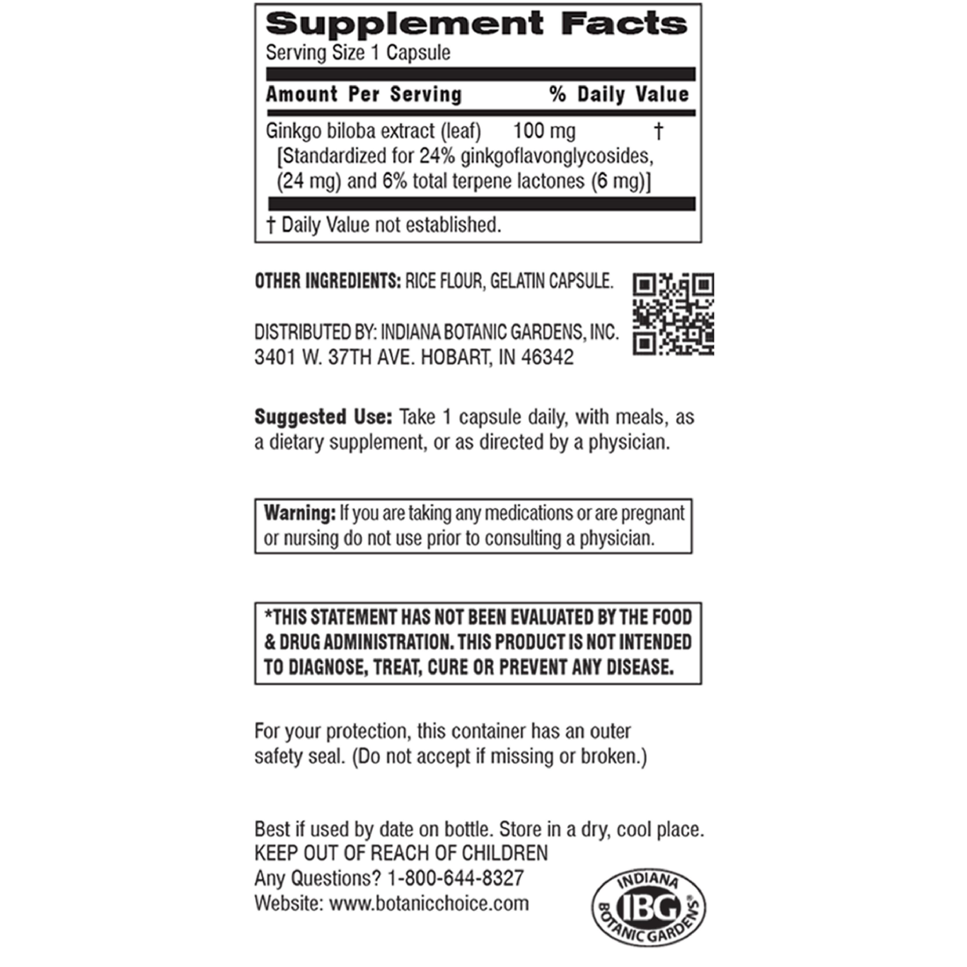 Ginkgo Biloba Extract 100 mg-Label
